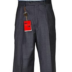 Men's Charcoal Grey Wool Single-pleat Pants