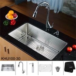 Kraus Stainless Steel Undermount Kitchen Sink, Chrome Faucet/ Dispenser