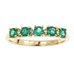 D'Yach 14k Yellow Gold Emerald and Diamond Ring