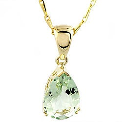 Beverly Hills Charm 14k Yellow Gold Green Amethyst Teardrop Necklace
