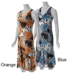 S Max by Adi Women's Drape Neck Sleeveless Floral Dress
