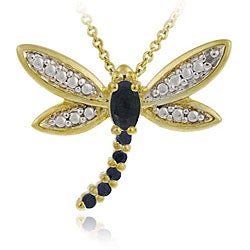 Glitzy Rocks 18k Gold over Silver Sapphire and Diamond Dragonfly Necklace