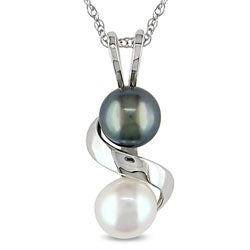 Miadora 10k White Gold Black and White Freshwater Pearl Necklace (5-5.5 mm)