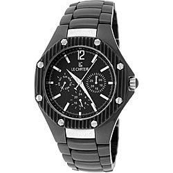 Le Chateau Men's 'Bello' Silvertone-accented Ceramic Watch