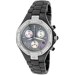 Le Chateau Women's Silvertone 'Condezza' Ceramic Watch.