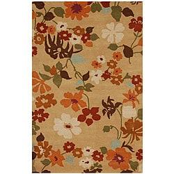 Hand-tufted Aledo-131 Beige Floral Wool Blend Rug (5' x 8')
