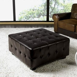 Bentley Leather Square Cocktail Ottoman