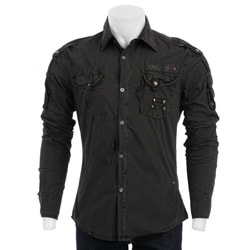 X-ray Men's Black Military Shirt