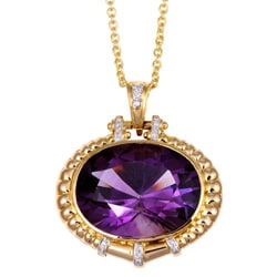 Kabella 14k Yellow Gold Amethyst and 1/4ct TDW Diamond Necklace (I-J, I3)