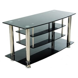 Black Glass Plasma and Chrome Drop-down Shelf Entertainment Center