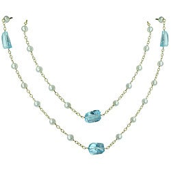 14k Yellow Gold Blue Topaz and Pearl Necklace (3.4 mm)