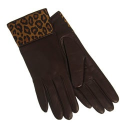 Portolano Women's Nappa Leather Animal Print Gloves