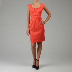 London Times Women's Cap Sleeve Jacquard Dress