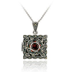 Glitzy Rocks Sterling Silver Garnet and Marcasite Square Locket Necklace