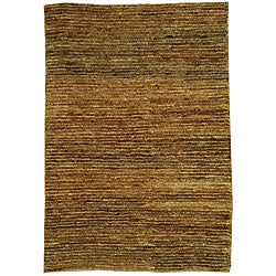 Hand-knotted All-Natural Horizons Gold Hemp Runner (2'6 x 12')