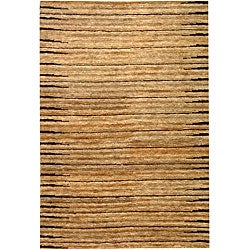 Hand-knotted All-Natural Fields Beige Hemp Runner (2'6 x 12')