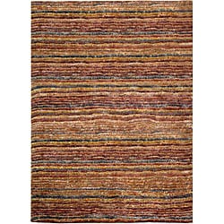 Hand-knotted All-Natural Striped Red/ Multi Runner (2'6 x 8)