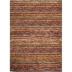 Hand-knotted All-Natural Striped Red/ Multi Rug (3' x 5')