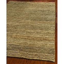 Hand-knotted All-Natural Hayfield Beige Hemp Rug (5' x 8')