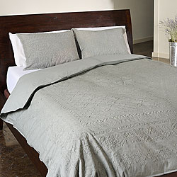 Grey Jodhpur 3-piece Cotton Duvet Cover Set (India)