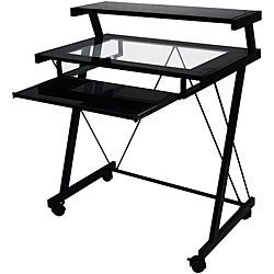 Black Glass-top Computer Cart