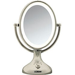 Conair Nickel Double Sided 1x 5x Lighted Makeup Mirror