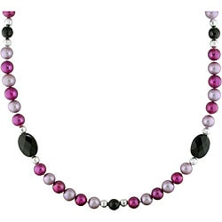 New York Pearls Multi-colored FW Pearl and Onyx 38-inch Endless Necklace (9-10 mm)