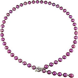 Cranberry Freshwater Pearl 24-inch Necklace (9-10 mm)