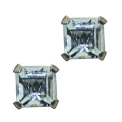 10k White Gold Square-cut Aquamarine Stud Earrings