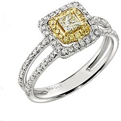 14k Gold 5/8ct TDW White and Yellow Diamond Halo Ring (G-H, SI1-SI2)