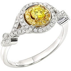 18k Two-tone Gold 1/2ct TDW Yellow and White Diamond Ring (GH, SI1-2) (Size 7.25)