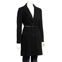 DKNY Women's Belted Cashmere Blend Wool Coat