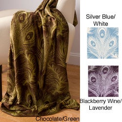 Michelle Flowy Peacock Feather Microluxe Throw