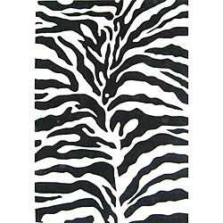 Alliyah Handmade Safari Zebra Black New Zealand Blend Wool Rug (4' x 6')