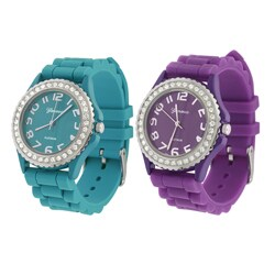 Geneva Platinum Women's Cubic Zirconia Silicon Strap Watch