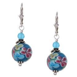 Charming Life Sterling Silver Flower Power Blue Art Glass Earrings