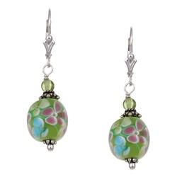 Charming Life Silver Flower Power Green Art Glass Earrings