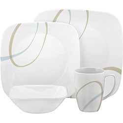 Corelle 'Sand and Sky' 16-piece Square Dinnerware Set
