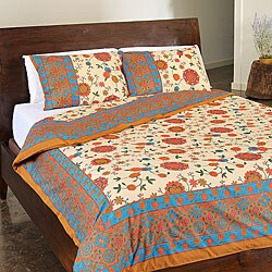 Sodhi Spring Multi 3-piece Queen Duvet Set (India)