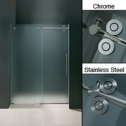 Vigo 72-inch Frameless Frosted Glass Sliding Shower Door