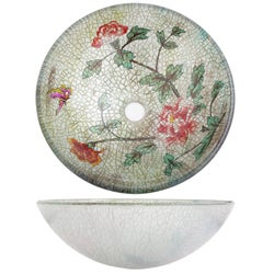 Flower Vessel Sink : Geyser Glass Vessel Flower Pattern Vanity Vessel Bathroom Sink ...