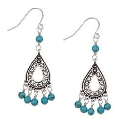 Charming Life Sterling Silver Turquoise Filigree Teardrop Earrings
