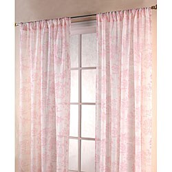 Vintage Pink/ White 84-inch Toile Sheer Curtain Panels