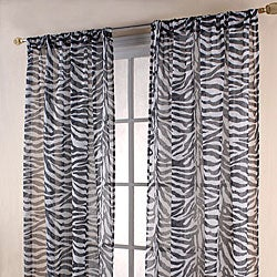 Zebra Print Black/ White Sheer 84-inch Curtain Panels | Overstock ...
