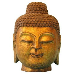 Stone and Gold Leaf Buddha Head Statue (China)