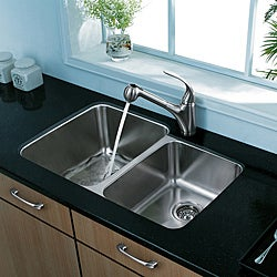 Vigo Undermount 32-inch Stainless Steel Kitchen Sink and Faucet