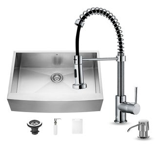 Vigo Farmhouse Stainless Steel Kitchen Sink Dispenser/Faucet