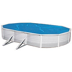 Swim Time 16 ft. x 32 ft. Oval 8-mil Solar Blanket for Above Ground Pools - Blue