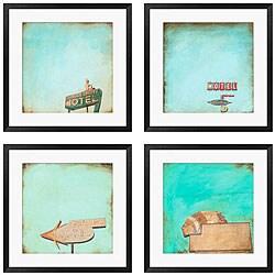 Michael Drake 'Polaroid Skies' 4-piece Framed Art Set