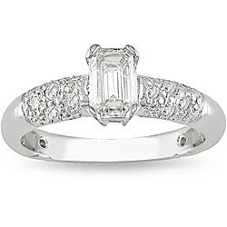 Miadora 18k White Gold 1ct TDW Diamond Engagement Ring (H-I, VS1-SI2)